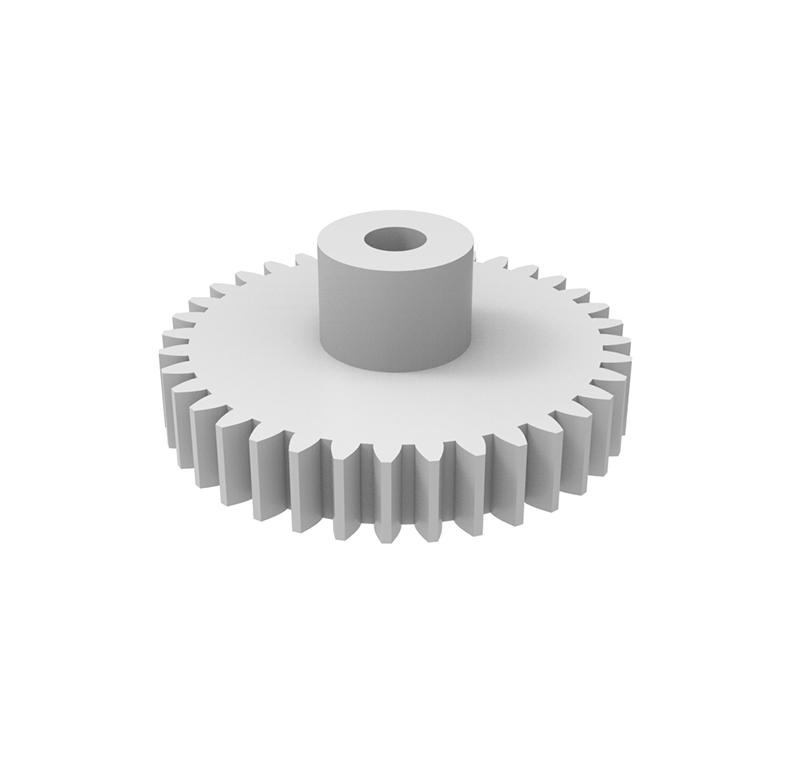 Engranaje de plástico Módulo 0.600, Dientes 36Z, Forma con bulón