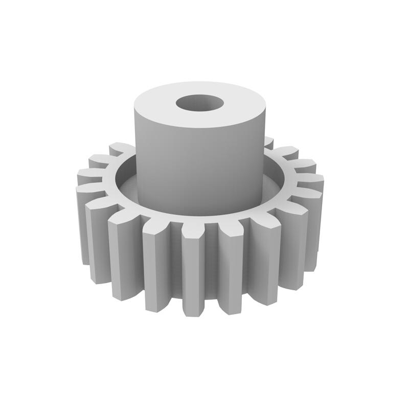 Engranaje de plástico Módulo 0.750, Dientes 20Z, Forma con bulon