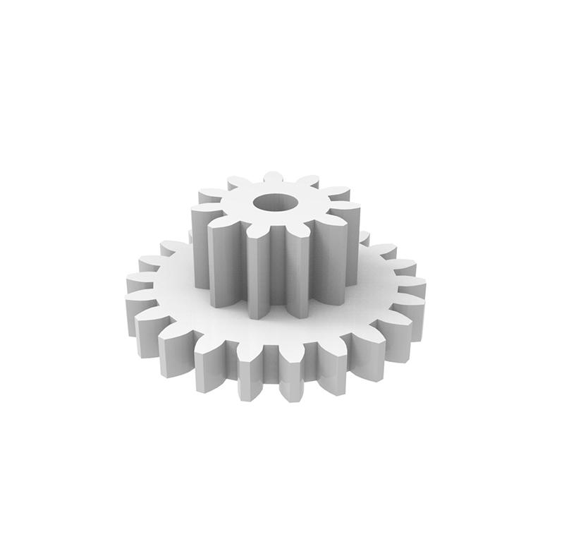 Engranaje de plástico Módulo 0.300, Dientes 22Z, Forma con piñon