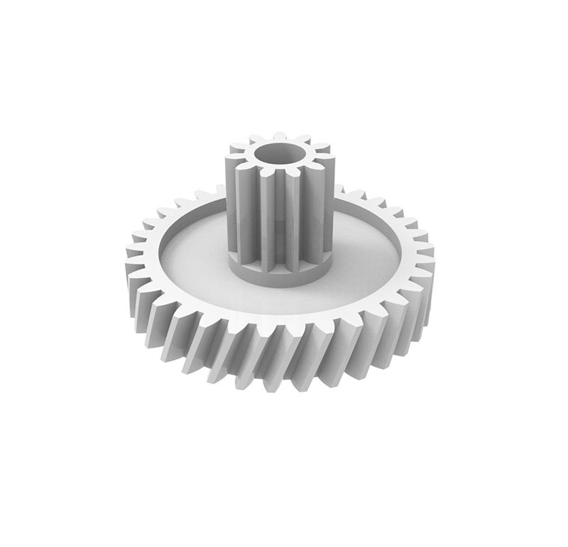 Engranaje de plástico Módulo 0.500, Dientes 34Z, Forma con piñón  Engrane helicoidal con piñón recto  Datos del engrane   -Z34 módulo 0,5  -Diámetro externo: 19,10 mm  -Paso de hélice: 156,14  -Angulo β: 20º  -Roscado: Derechas  -Material del engranaje: POM  Datos del piñón  -Z11 módulo 0,5  -Diámetro externo de 6,45 mm  -Diámetro eje de paso 3,05 mm  -Material del piñón: POM