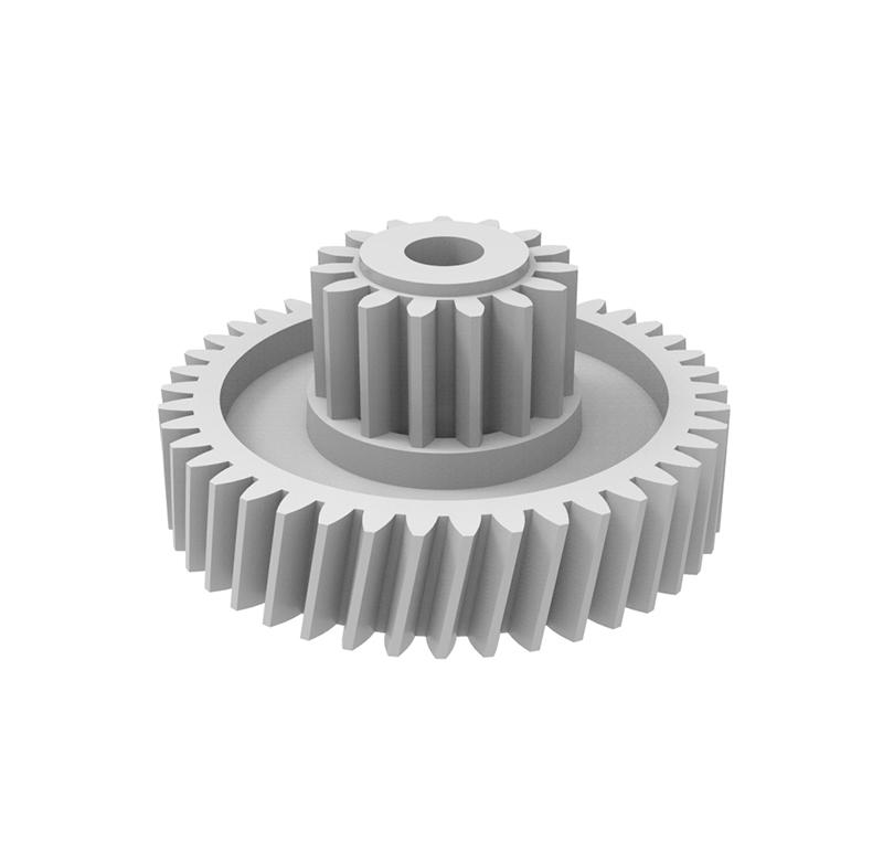 Engranaje de plástico Módulo 0.500, Dientes 42Z, Forma con piñón  Datos del engranaje   - Engranaje helicoidal   - Material: Pom   - Diámetro eje de paso: 3,05 mm   - Engranaje: Z  42 módulo 0,5   - Diámetro externo del engranaje: 22,40 mm   - Paso de hélice: 368,983   - Ángulo beta: 79,7º   - Roscado: Derechas  Datos del piñón   - Material: Pom   - Piñón: Z 15 módulo 0,6   - Diámetro externo del piñón: 10,45 mm