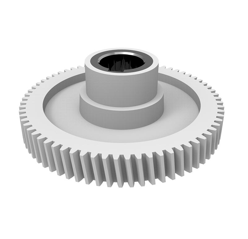 Engranaje de plástico Módulo 0.800, Dientes 69Z, Forma con bulon