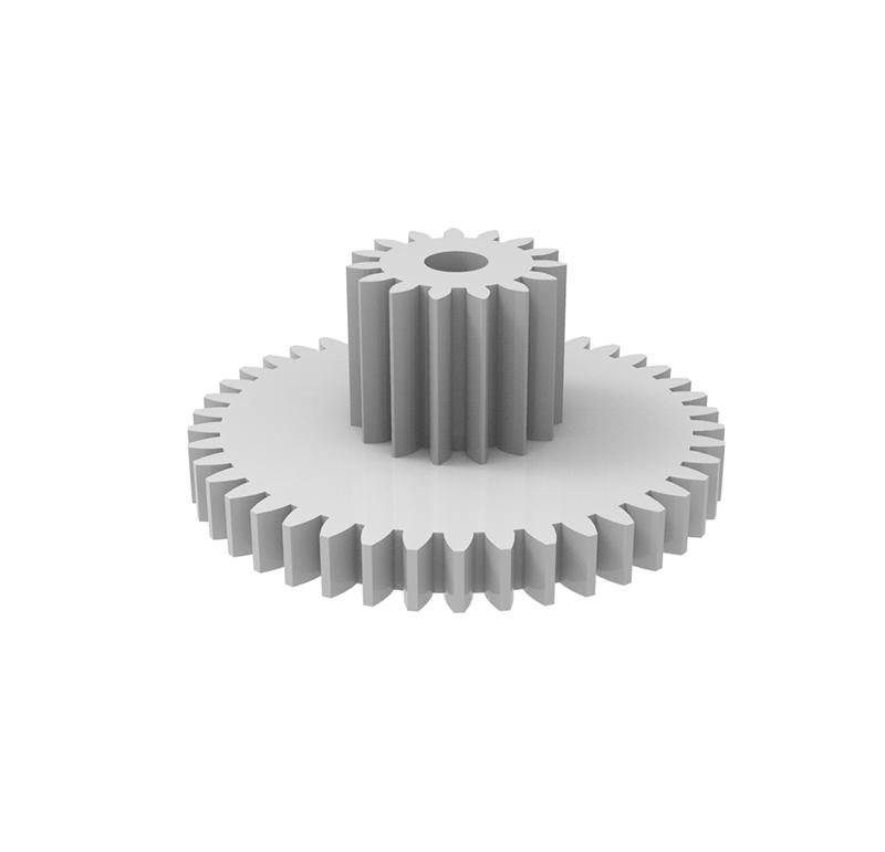 Engranaje de plástico Módulo 0.400, Dientes 42Z, Forma con piñon