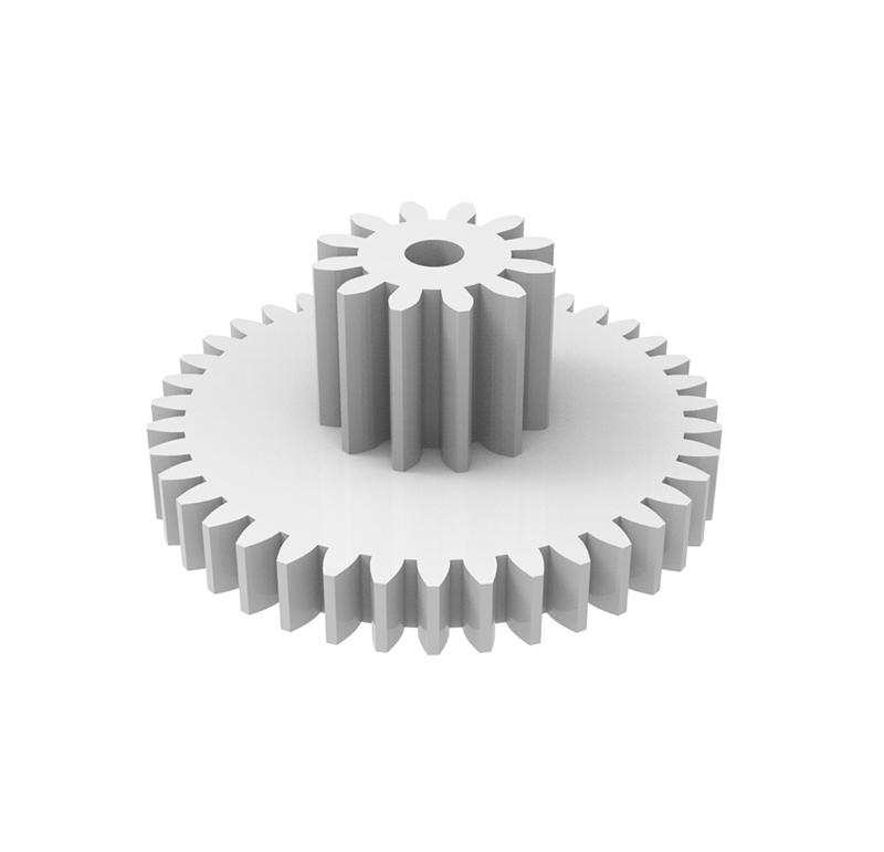 Engranaje de plástico Módulo 0.500, Dientes 39Z, Forma con piñon