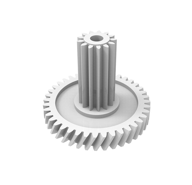 Engranaje de plástico Módulo 0.400, Dientes 40Z, Forma con piñón  Datos del engranaje   - Engranaje helicoidal   - Material: POM   - Diámetro eje de paso: 2.05 mm   - Z 40 módulo 0,4   - Diámetro externo:18,37 mm   - Paso de hélice: 117,83   - Ángulo beta: 20º    - Roscado: Derechas  Datos del piñón   - Material: POM   - Z 13 módulo 0,4   - Diámetro externo: 6,10 mm