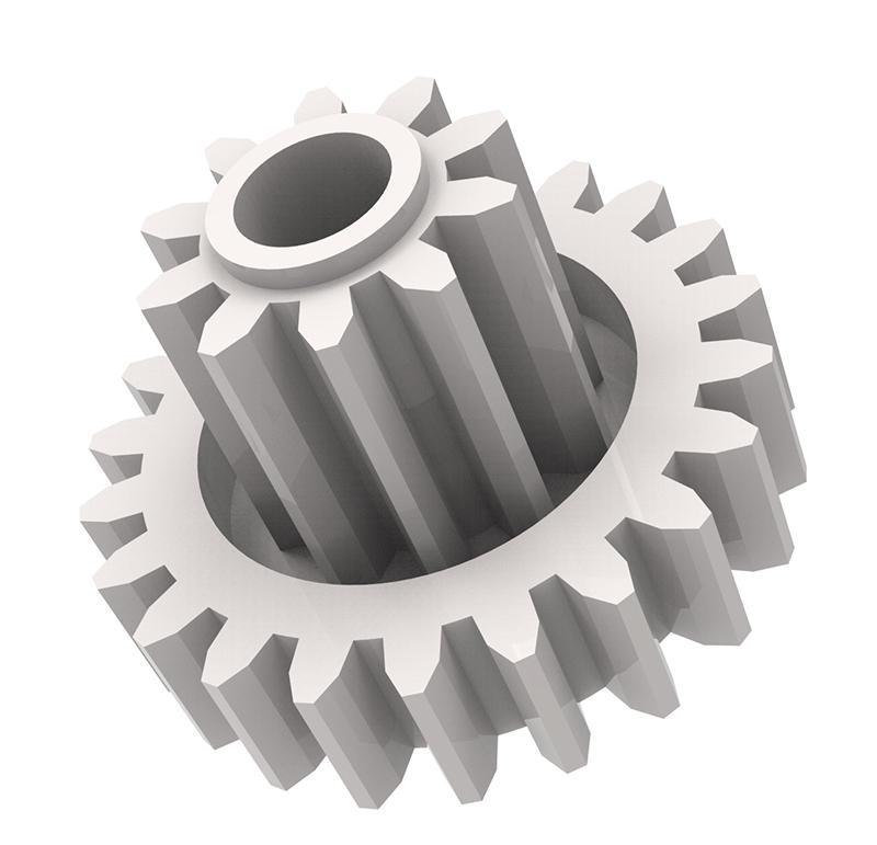 Engranaje de plástico Módulo 0.600, Dientes 22Z, Forma con piñon