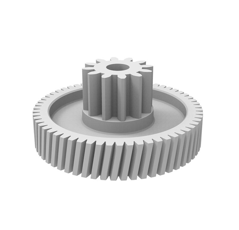 Engranaje de plástico Módulo 1.000, Dientes 59Z, Forma con piñón  Engrane helicoidal con piñón recto  Datos del engrane   -Z59 módulo 1,0  -Diámetro externo: 60,00 mm  -Paso de hélice: 1114.0207  -Angulo β: 80º 32\' 15\