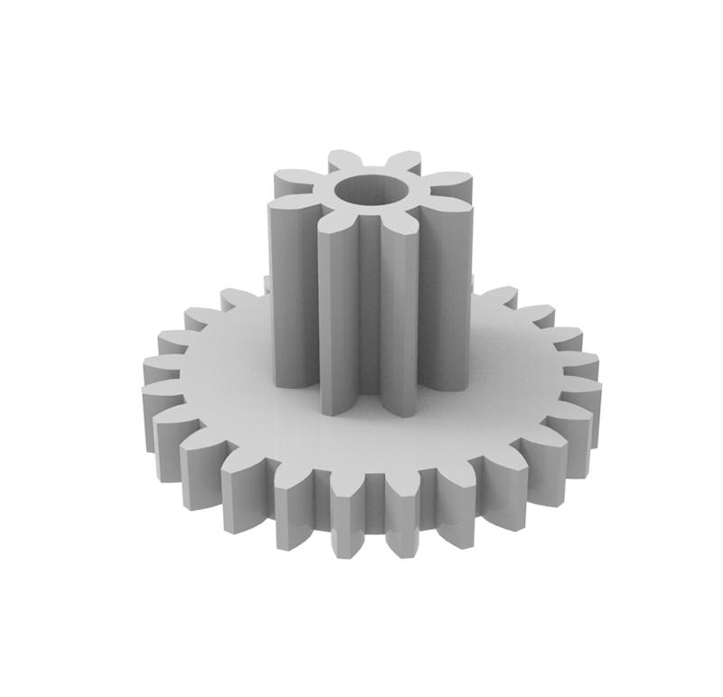 Engranaje de plástico Módulo 0.700, Dientes 25Z, Forma con piñon