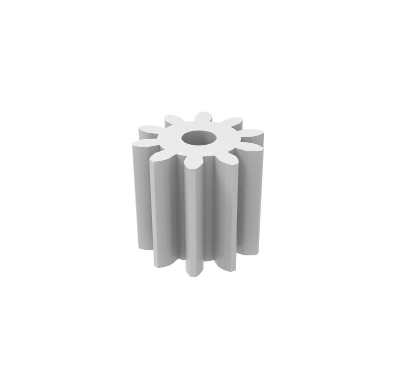 Piñón de plástico Módulo 0.600, Dientes 10Z, Forma recto