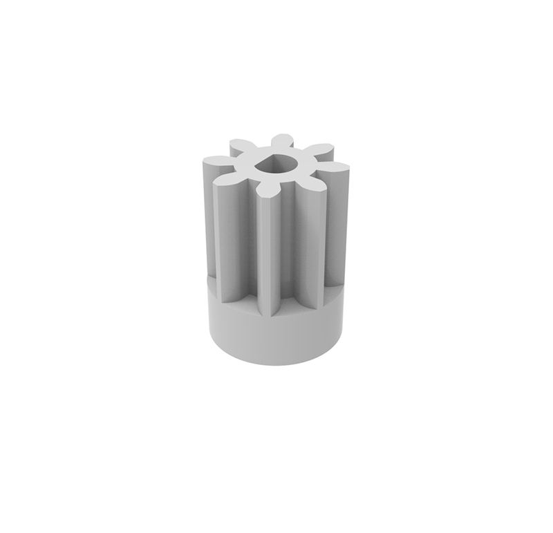 Piñón de plástico Módulo 1.000, Dientes 8Z, Forma recto