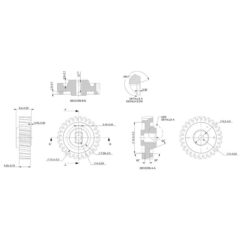 Plastic gear Module 0 600, Teeth 27Z, Shape helical