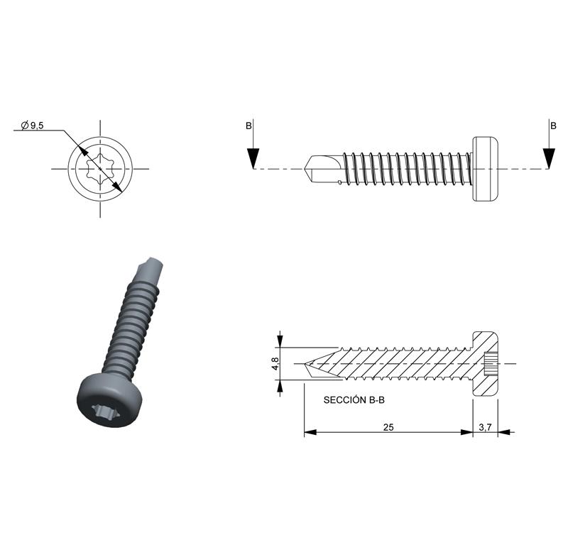 Screw D 4 8x25 A85s Type Sheet Metal Pack Of 30 Ref