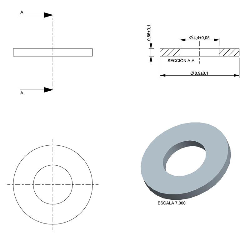 Washer inner diameter 4 40mm thickness 0 85mm type normal ref