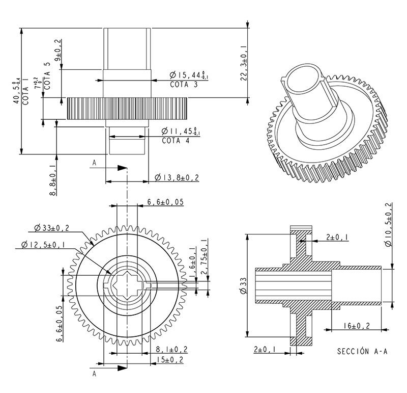 Engranaje de pl stico m dulo dientes 53z forma con for Realizar planos