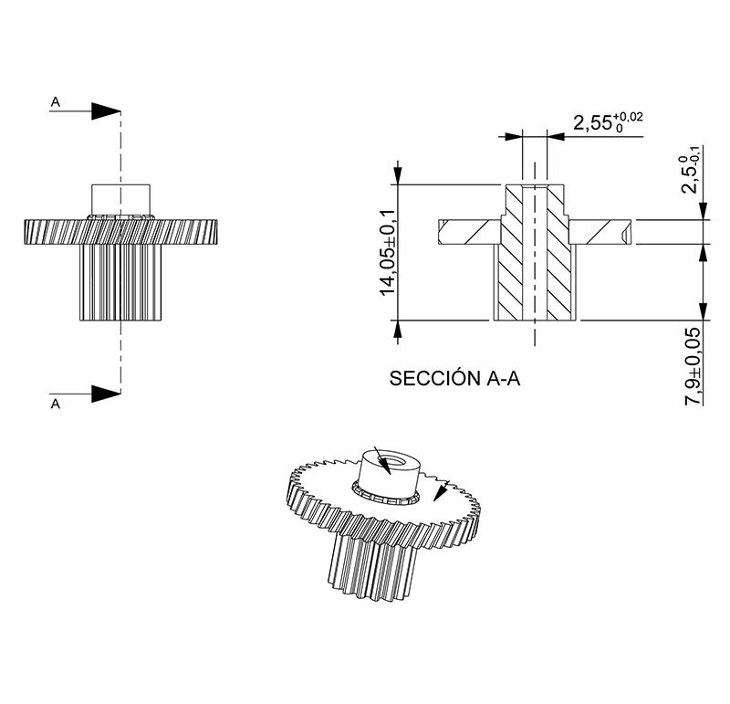 material c45 etzr-m2-34 Mold 2 módulo 2 dientes número 34 Engranaje