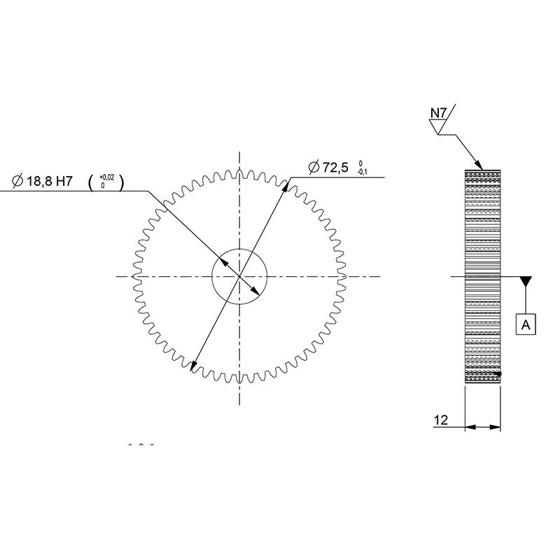 Engranajes módulo 1.5 con acero C45 número de dientes 12-127 eje rectos